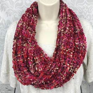 NEW Red Pink Loose Knit Infinity Scarf